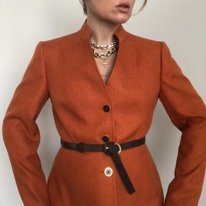 Belted Blazer with Tortoise Buttons